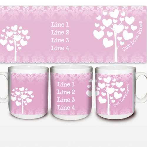 Personalised Love Grows Mug Pink